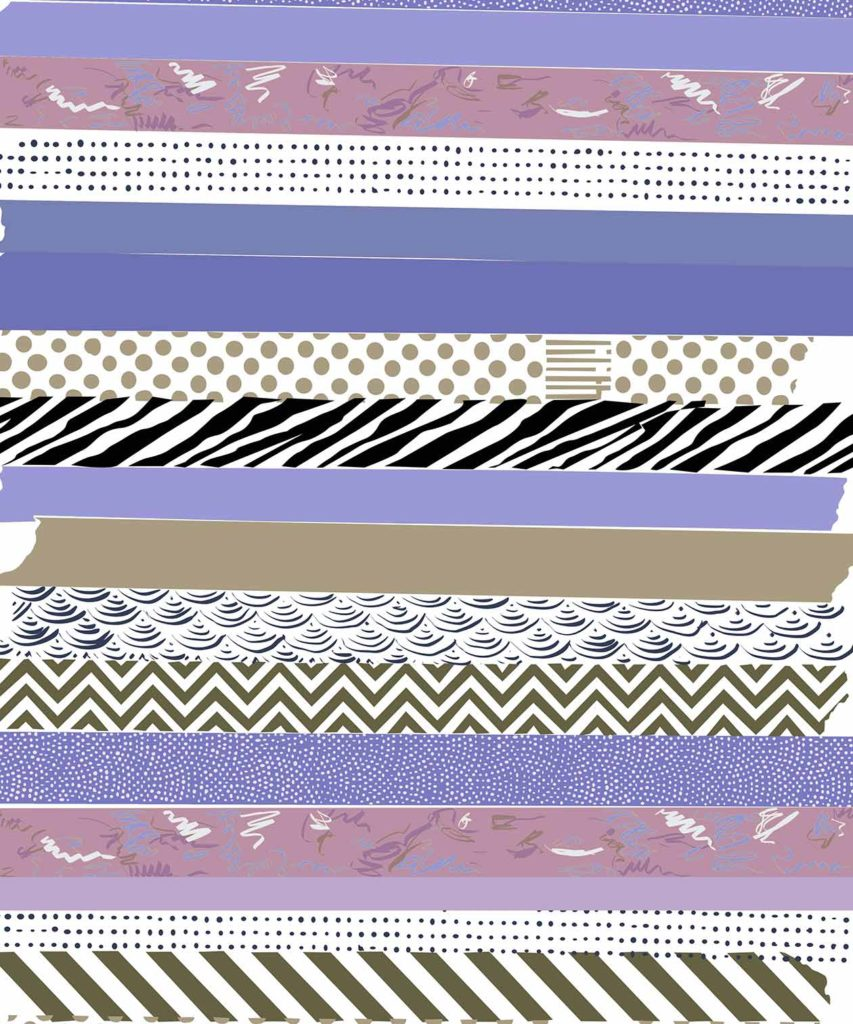 Purple Washi tape illustrated design