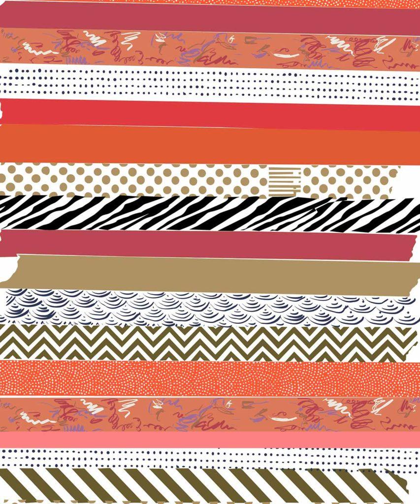 Red Washi tape illustrated design