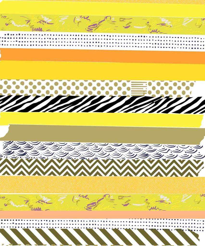 Yellow Washi tape illustrated design