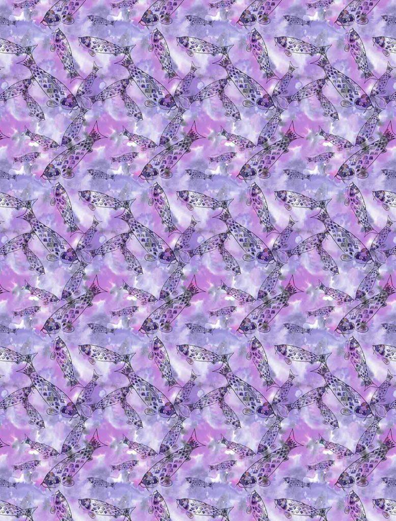 Purple swimming koi